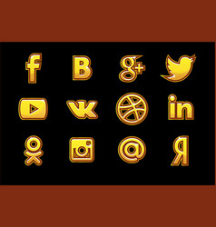 golden icons social media buttons set vector image