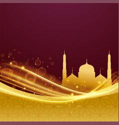 Golden premium eid and ramadan festival design vector
