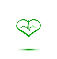 Green heart and ecg vector
