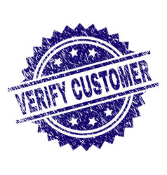 Grunge textured verify customer stamp seal vector