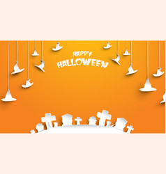 halloween background with hat and cemetery vector image
