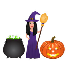 halloween witch with potion potion and pumpkin vector image