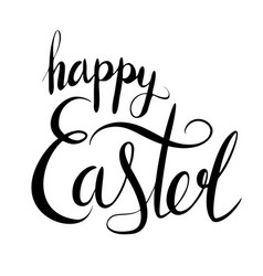 Handwritten lettering happy easter brush vector