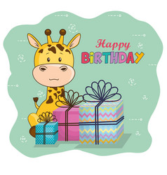 happy birthday card with cute giraffe vector image
