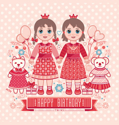 Happy birthday - greetings card for girl vector