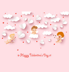 Happy valentines day greeting card with cut paper vector