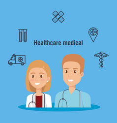 Healthcare icons and medical staff characters vector