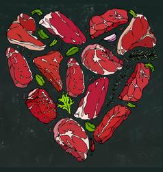Heart of meat steaks on chalkboard vector
