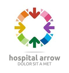 hospital arrow colorful design icon vector image