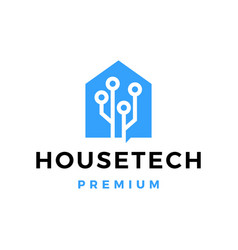 house tech circuit logo icon vector image