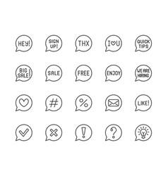 Information speech bubble flat line icons set vector