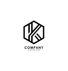 initials letter k hexagon logo vector image