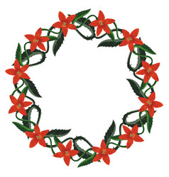 isolated beautiful wreath with red spiked flowers vector image