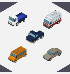 Isometric automobile set of autobus suv first vector