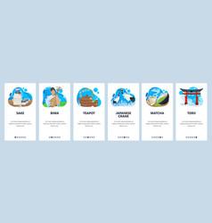 japan website and mobile app onboarding screens vector image
