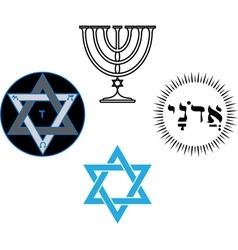 Jewish religious and magic symbols vector