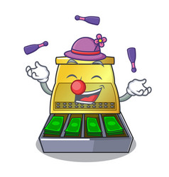Juggling cartoon cash register with a money drawer vector