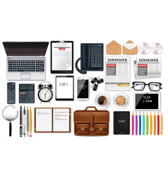 laptop gadget and office supplies business set vector image