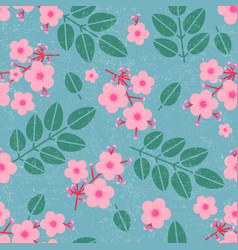 leaves and pink flowers seamless pattern vector image