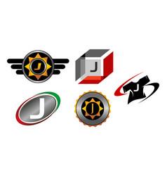 logotype j modern template set vector image