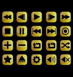 Luxury gold media player buttons interface set vector