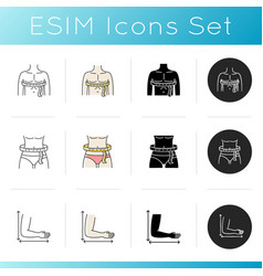 Male and female body sizing icons set linear vector