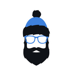 man in winter blue hat glasses and with beard vector image