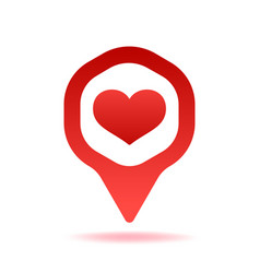 map pointer with heart shape icon vector image