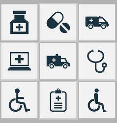 medicine icons set with wheelchair medicine vector image