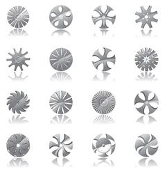 metallic diskshaped icons vector image vector image