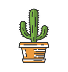 Mexican giant cactus in pot color icon vector