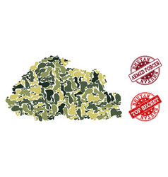 Military camouflage composition of map of bhutan vector