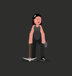 miner girl hard working vector image