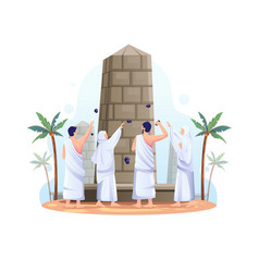Muslims are throwing stones at devil pillar vector