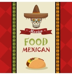 Poster food and skull mexican design vector