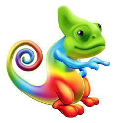 rainbow chameleon mascot pointing vector image