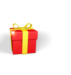 realistic red gift box with yellow bow and ribbon vector image
