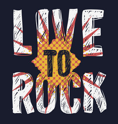 rock type design with scribbled letter vector image
