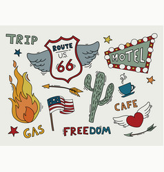 Route 66 sketch set symbol and sticker vector