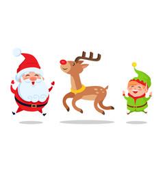 santa and elf cartoon characters jumping high icon vector image