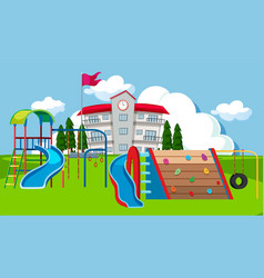 school yard playground scene vector image