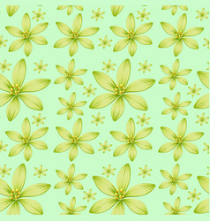 Seamless background with green flowers vector