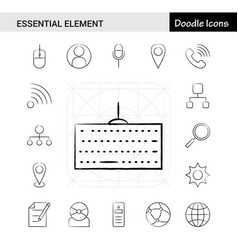 set of 17 essential element hand-drawn icon set vector image