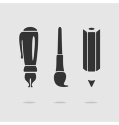 Set of symbols pens and pencils vector image