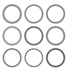 set round rope frame collection thick and vector image