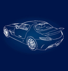 sketch of a modern sports car on a blue background vector image