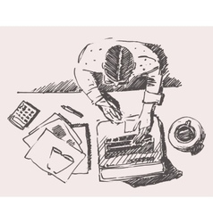Sketch of Man with Computer Office Work Hand Drawn vector