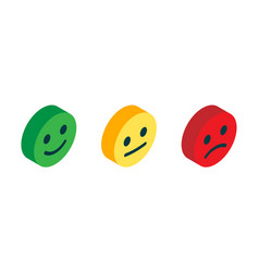 smile faces rating feedback isometric set vector image