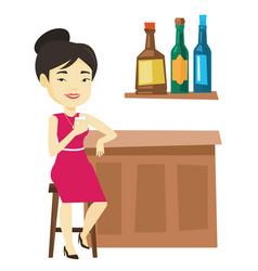 Smiling woman sitting at the bar counter vector
