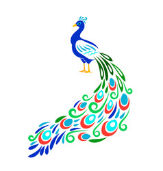 stylized peacock color ornament peecoock animal vector image
